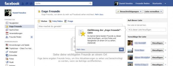 Enge Freunde auf Facebook